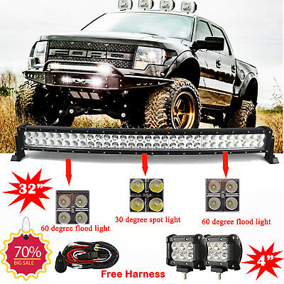 "32 inch LED Light Bar Curved + 2x 4"" CREE Led Pods Truck Offroad SUV 4WD Jeep 30"