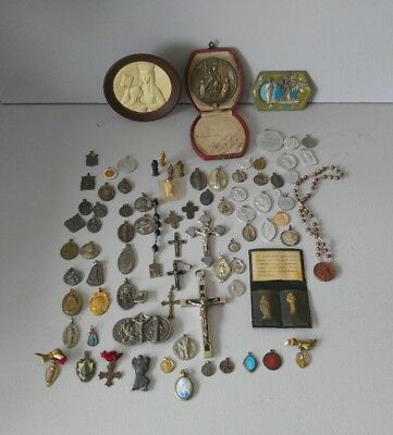85 Old Religious lot~Catholic Rosary Beads blessed+ STERLING SILVER