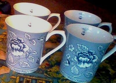 """4 queen's china 3 X 3 3/8"""" ALBERTINE COFFEE MUGS cups TEA blue-and-white FLOWERS"""
