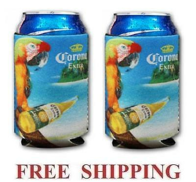 CORONA EXTRA MACAW PARROT 2 BEER BOTTLE KOOZIE COOLIE COOZIE COOLERS HUGGIE NEW