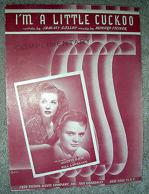 1949 I'M A LITTLE CUCKOO Sheet Music JANETTE DAVIS & BILL LAWRENCE by Steiner