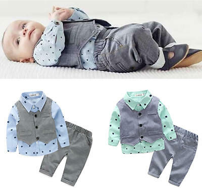 3pcs Toddler Kids Baby Boys Gentleman Dress Suit Shirt+Vest+Pant Clothing Set