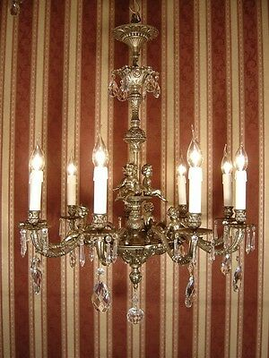 Vintage 9 Light Cherubs French Silver Nickel Chandelier Crystal Glass Brass