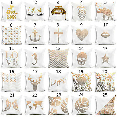 Gold Sofa Shining Printed Polyester Throw Pillow Case Cushion Cover Home Decors/