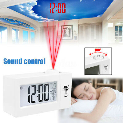 NEW Digital LED Time Projector Weather Thermometer Snooze LCD Color Alarm Clock