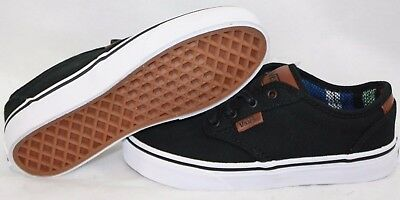 NEW Girls Boys Kids Youth VANS Atwood Deluxe Black White Classic Sneakers Shoes