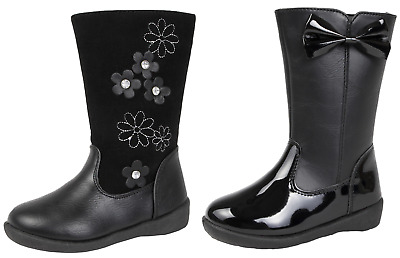 Girls Knee High Boots Faux Leather Diamante / Bow Party School Shoes Winter Size