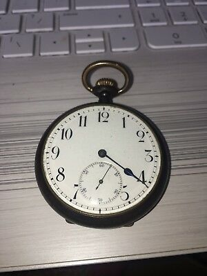 Cracking ZENITH POCKET WATCH in gun metal works great c1920 rare