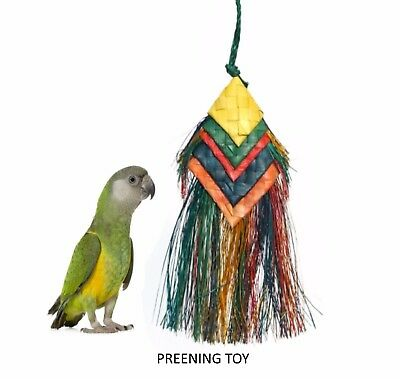 Woven Wonders Parrot Bell Preener Chew Shred Pluck Natural Hanging Cage Toy 2308