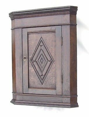 Small Apprentice Piece Antique Carved Oak Corner Cupboard Cabinet (11)