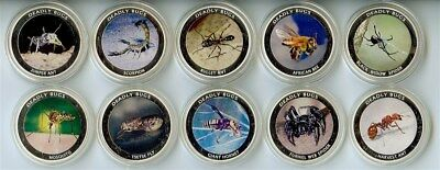 Zambia 2010 1000 Kwacha Deadly Bugs 10 Coin Proof Set All Come In Capsules