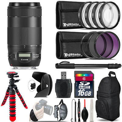 Canon EF 70-300mm IS II USM Lens + Macro Filter Kit & More - 16GB Accessory Kit