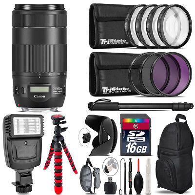 Canon EF 70-300mm IS II USM Lens + Flash +  Tripod & More - 16GB Accessory Kit