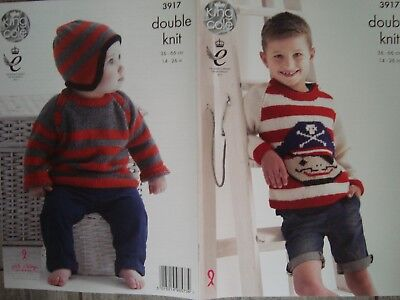 King Cole 3917 Baby/Child's Sweaters & Hat DK Knitting Pattern Sizes 14-26""