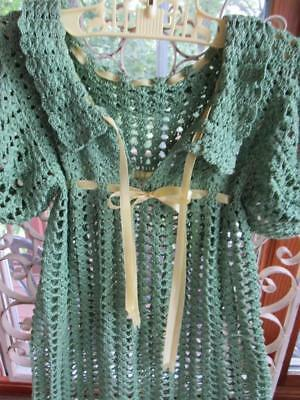 Antique Vintage 1920s Little Girls GREEN Dress Crochet Lace Yellow Ribbon Trim