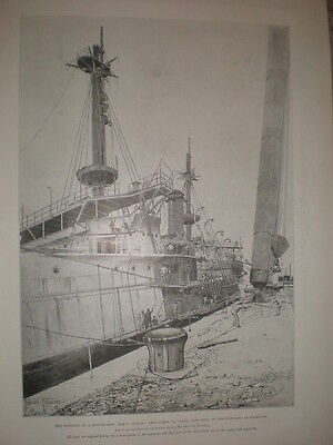 Building HMS Ocean at the Dockyard Plymouth 1898 old print my ref T