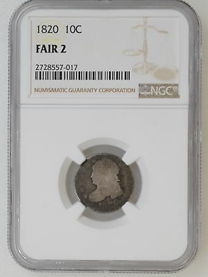 1820 NGC FAIR 2 Large Size Capped Bust Dime Nice Original Color - I-8902