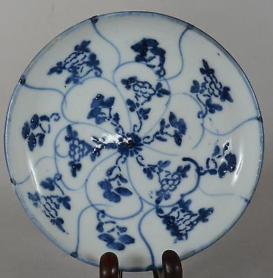 Antique Chinese Export Porcelain Blue & White Scrolling Flower Plate Qing