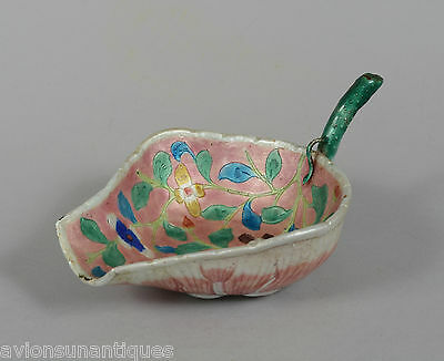 Chinese Late Qing Dynasty Canton Enamel Pink Lotus Leaf Form Ladle marked CHINA