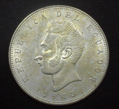 Ecuador 1943-Mo Silver 5 Sucres  Km#79  Near Gem Uncirculated