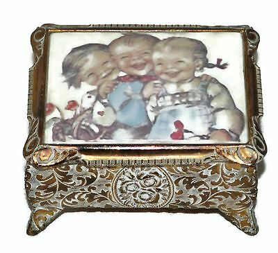 Antique Vintage Footed Metal Jewelry Trinket Box Smiling Kids Painting Japan