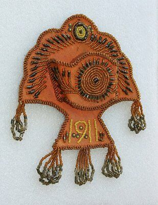 Antique 1911 Native American Indian Beadwork Whisk Broom Holder Whimsy Vintage