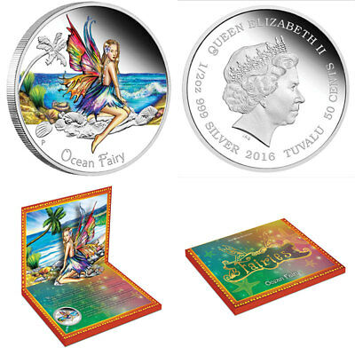 2016 1/2 oz TUVALU OCEAN FAIRY .999 SILVER PROOF COIN