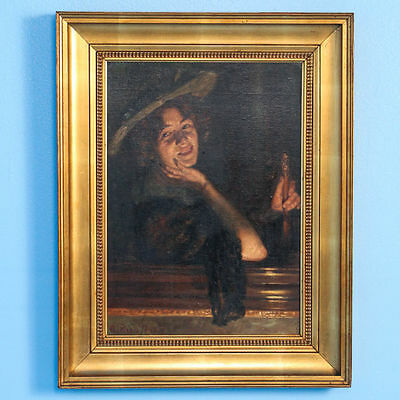 Original Signed Antique Oil on Board Painting, Portrait of Smiling Woman