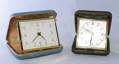 Pair of Vintage Travel Alarm Clocks for Parts Not working Elgin and Manthe