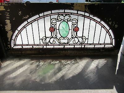 Antique Stained Glass Transom Window ~ 62 X 28 ~ Architectural Salvage ~