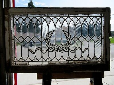 ~ Antique Stained Glass Window ~ Wreath ~ 44 X 27 ~ Architectural Salvage ~