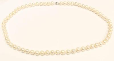 64x Fresh Water 10.5-12 mm pearls necklace 14K wg catch 30 inches w/a $1350.