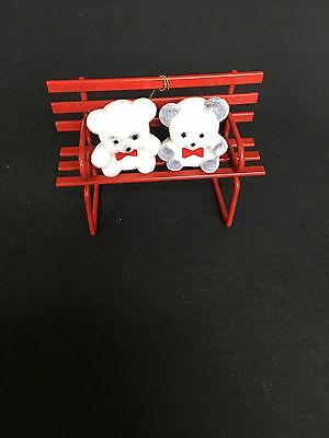 Avon Teddy Bear Collection Ornament Teddies On A  Red Bench
