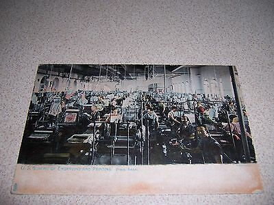 c.1900 BUREAU of ENGRAVING & PRINTING PRESS ROOM WASHINGTON DC. ANTIQUE POSTCARD