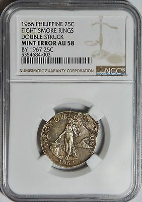 1967 Coin Double Struck on 1966  Philippine 25 Centavos – NGC AU58 - Mint Error