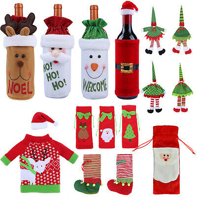 Xmas Tree Christmas Wine Bottle Bag Cover XMAS Gift Table Decorations Santa Deer