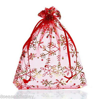25PCs 12cmx16cm Red Snowflake Organza Gift Bags Pouches Wedding/Christmas Gift