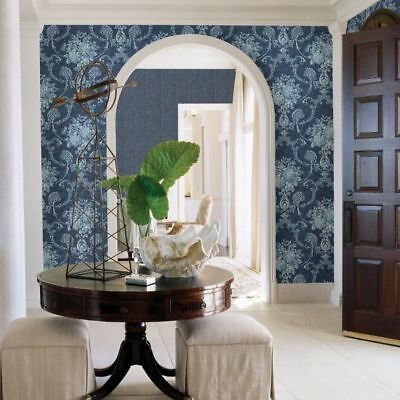 Traditional Winsome Blue Floral Damask Mirabelle Classic Vintage Wallpaper