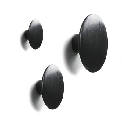 Dots Coat Hook | Ink Black | Hat Jacket Round Wooden Wall Mount Cloth Hanger
