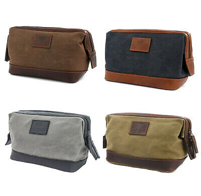The Navigator Waxed Canvas & Leather Washbag Brown or Green