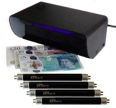 UV Money Checker Counterfeit Polymer & Paper Bank Note Detector + 4 x F4T5 Bulbs
