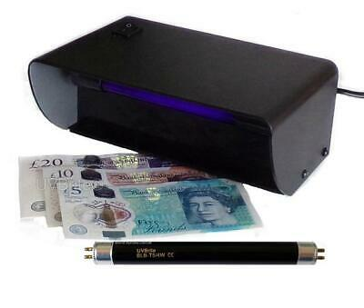 UV Money Checker Counterfeit Polymer Paper Bank Note Detector + Spare F4T5 Bulb