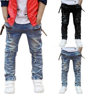 Children Boys Fashion Cool Jeans Strench Skinny Denim Trousers Patch Pants 3-7 Y