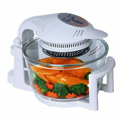 12 Litre White Premium Digital Halogen Convection Oven Cooker with Hinged Lid