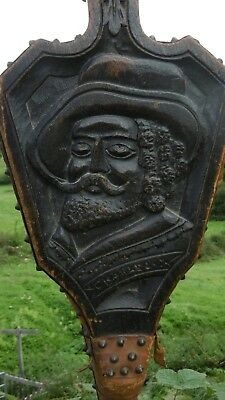 SUPERB Pr 19thc OAK HEARTHSIDE BELLOWS WITH CARVED HEAD OF CHARLES I