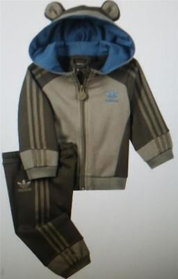 adidas baby infant boys monkey tracksuit jog g69676 brown new 0-3 to 3-4 years