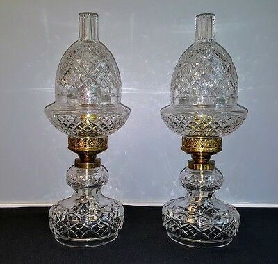 Rare Hurricane Lamps Waterford Electric Vintage Large And Stunning Pair Vintage