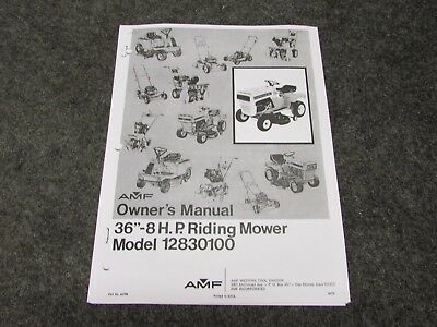"""Amf 36"""" 8 H P Riding Mower Parts List Owner's Manual Model 12830100"""