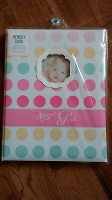 New C.R. Gibson Sweet Girl Polka Dot Baby's First Memory Record Baby Book