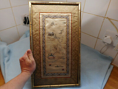 Beautiful Framed  Chinese Floral  Embroidery Boating Village Scene